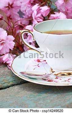 Stock Photo - Beautiful japanese cherry tree and a cup of tea - stock image, images, royalty free photo, stock photos, stock photograph, stock photographs, picture, pictures, graphic, graphics