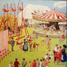 Vintage Fairground Poster original by BrightonBeachBazaar, Circus Poster, Circus Theme, County Fair Theme, Circus Illustration, Village Fete, Circo Vintage, Teaching Posters, School Posters, Vintage Circus