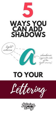 In this tutorial you will learn how to add shadows to your lettering in 5 different and very easy ways. Add shadows to your hand lettering and calligraphy. Doodle Lettering, Creative Lettering, Brush Lettering, Lettering Design, Typography Art, Lettering Ideas, Hand Lettering For Beginners, Calligraphy For Beginners, Hand Lettering Tutorial