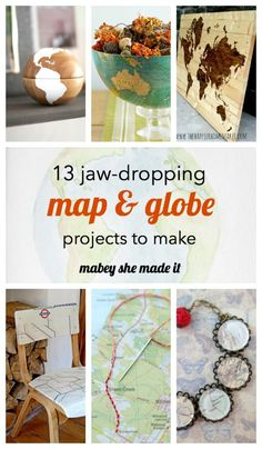 Grab a map or globe because you'll need to make all 13 of these map and globe projects. Diy Craft Projects, Globe Projects, Map Projects, Globe Crafts, Map Crafts, Travel Crafts, Old Maps, Map Globe, Do It Yourself Crafts