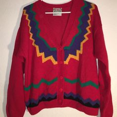 Colorful Retro Vintage Cardigan Small snags. No stains. Sweaters Cardigans