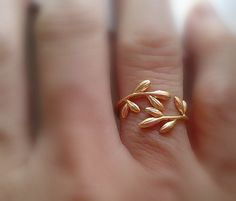 golden vine ring - yellow 16k gold over brass - adjustable wrap ring - delicate organic on Etsy, $16.00