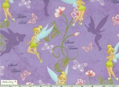 TINKERBELL on Lavender PURPLE Fabric for Quilting 100% Cotton Fairy #51