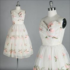 Vintage 1950s Dress  Ivory  Chiffon  by millstreetvintage on Etsy, $235.00