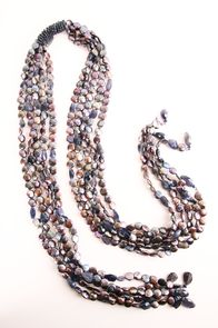 Pearl bead scarf necklace