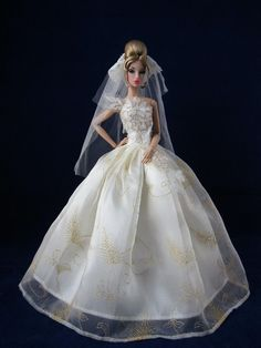 Silkstone Barbie Doll Clothes Royalty Evening Wedding Dress/gown  + veil b021 #HandmadeFitForBarbieDoll