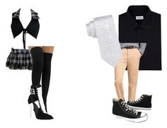"""School Girl and Guy Costumes"" by ultimatefangirl-459 ❤ liked on Polyvore featuring Chicnova Fashion, Brioni, Brooks Brothers, Saddlebred, Converse and Puma"