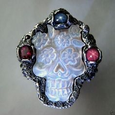 Flowered Skull Ring Mother of Pearl hand crafted by Ruben V.