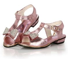 Female child sandals rhinestone princess shoes 2014 girls summer shoes gold leather T-Strap Marry Jane flats bowknot sandal kid $29.90