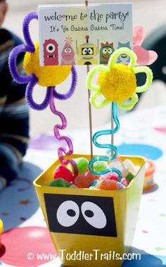 Yo Gabba Gabba Birthday Party Center Pieces