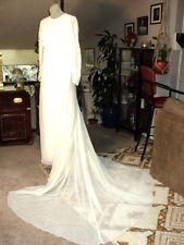 ~SALLY MILGRIM Historical Vintage 30-40's White SILK Wedding Dress Train Small~