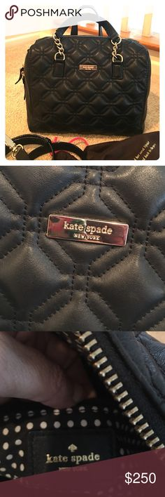 Kate Spade Authentic Black Handbag Classic black, quilted, gold hardware, comes with the long removable strap and original dust bag. Gently used. Condition 9/10. kate spade Bags