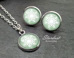 Schmuckset silber ❅ Schneeflocke III grün ❅ von Stardust Accessoires auf DaWanda.com