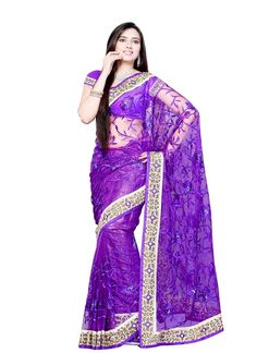 Buy latest collection of designer sarees including variety of sarees. Order this net purple designer saree for party and wedding.