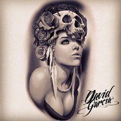 """""""Beautiful Day Of The Dead Ladies"""" by David Garcia Skull Tattoos, Life Tattoos, Black Tattoos, Sleeve Tattoos, Cool Tattoos, Tattoo Sketches, Tattoo Drawings, Tattoo Gallery, Mujeres Tattoo"""