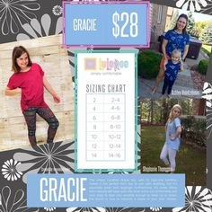 Gracie ~ the unisex LuLaRoe Gracie top, with its high-low hemline makes it the perfect Kid's top to pair with anything, but it's especially great with leggings! Furthermore, it's loose fitting, short sleeves will keep even the most active kid comfortable and cool. Easy to later and versatile enough to dress up or down, the Gracie is sure to become a staple in your kids' closet!