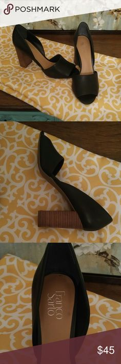 Franco Sarto leather heals Boss lady shoes. Minimalist design. 4 inch stacked heal. Only signs of wear are from the stickers. Franco Sarto Shoes Heels