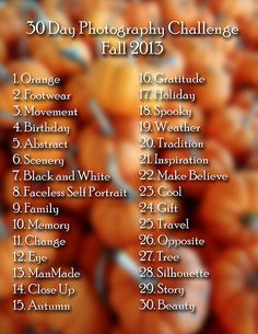 30 Day FALL Photo Challenge Running October 15 - November Please join us!