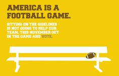 GET OUT THE VOTE CAMPAIGN: Kevin Drain (graphic design). The purpose of this campaign was to convince college students to get out and vote during the national presidential election. I utilized the idea of different sports and how they relate to our country. The elements of the campaign would be implemented in high traffic areas on campus such as dining halls and dorms.