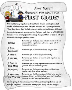 Sailing Through 1st Grade: Pirate welcome note for first day of school