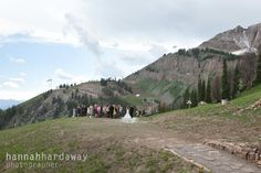 Outdoor wedding ceremony at the top of Jackson Hole Mountain Resort (The iconic JH Tram is in the background!) Jackson Hole wedding photographer Hannah Hardaway www.hannahhardawayphoto.com