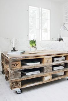 Old pallets stacked on top of each other would make a new work table and place to store large sheets of paper and supplies!  So neat!