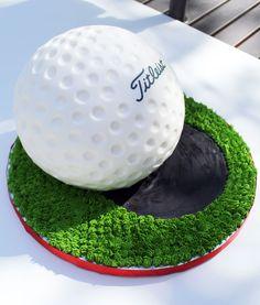 Impressive golf ball cake
