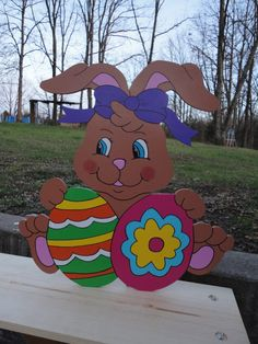 We have been making quality yard art for over 20 years since 1993!!! This listing is for One Girl Easter Bunny with Eggs yard art lawn decoration. All our Yard Art is hand-crafted by us. My husband hand cuts each item and preps it for me and I hand sand, prep, hand paint and seal