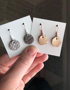 Little girls leather earrings / kids earrings / genuine