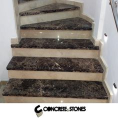 Concrete and Stones Stairs Tiles Design, Stair Railing Design, Home Stairs Design, Interior Stairs, Granite Stairs, Marble Stairs, Bathroom Designs India, Marble Sheets, Architect Design House
