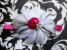 Baby Girl White Feather flower  pink elastic with hot pink rosette and rhinestone.Girl headband.