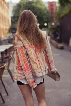 Love this jacket - bright color and the pattern!