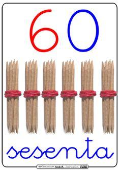 Sesenta, 60. Numbers Preschool, Preschool Math, Teaching Math, Go Math, Math For Kids, Finger Gym, Montessori Math, Maila, Primary Maths