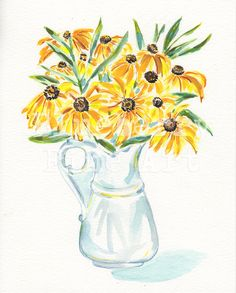 You know you want to buy this  Black eyed Susan original watercolor, Rudbeckia art , Yellow flowers painting, Floral watercolour, Wall decor,Tamara Jare, Yellow bouquet https://www.etsy.com/listing/537972359/black-eyed-susan-original-watercolor?utm_campaign=crowdfire&utm_content=crowdfire&utm_medium=social&utm_source=pinterest