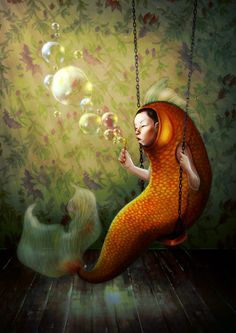 MOST INTROVERTED SIGNS: Taurus, Virgo, Cancer, Scorpio, Capricorn Pisces. (zodiacsociety.com) (Art: Goldfish Swing by Eliza Bolli)