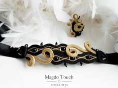 Shine on  One of a kind soutache bracelet with very feminine matching ring. Made of soutache braids, glass pearls, Toho beads, satin ribbons and felt on the back side. Bracelets circumference is 16,5cm + 28cm long satin ribbons and its 3cm wide. The ring is 4cm × 3cm. Adjustable size. Simple, beautiful and classy detail to your outfit. Vegan friendly.  Magdo Touch Exclusive  is line designed especially for bold, modern, urban woman who is facing chalenges of everydays life but still being…