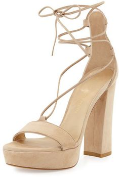 7496a4b12c Stuart Weitzman Wrap-It Suede Chunky-Heel Sandal, Beach Lace Up Wedge  Sandals