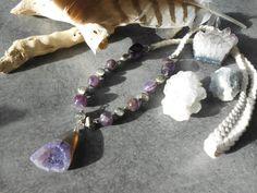 Collier long pendentif amethyste  lien tressé  par JewelryByPlk