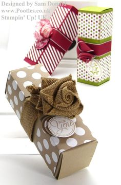 Stampin Up UK Long Fold Flat Gift Box. This is a great box & easy to make, Thanks Sam