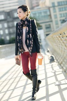 Burgundy Love :: Coated denim    These BOOTS!  (I'm still not convinced that I'll buy into the colored jeans trend though)