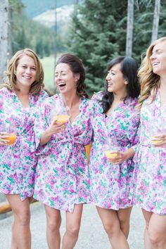 Bridal party bliss - robes and mimosas: http://www.stylemepretty.com/canada-weddings/2014/12/09/canadian-rocky-mountain-pastel-wedding/ | Photography: Christine Pienaar - http://www.christinepienaarphotography.com/