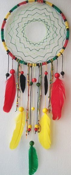 JAMAICAN ME CRAZY Rast Native Dream Catcher    by: FEELFREEART (no spaces)  $40.00