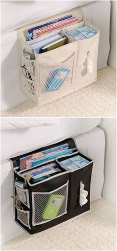 Amazing DIY Magazine Holders Ideas - Mostly people feel annoyed about newspapers and magazines being spread all over the place in office or at home. Bedside Organizer, Hanging Organizer, Diy Hanging, Bedside Caddy, Sew Organizer, Sewing Hacks, Sewing Tutorials, Sewing Crafts, Sewing Basics