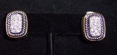 Premier Designs Earrings Silver Tone Gold Tone Rhinestones Rectangle Omega Back #PremierDesigns #Clip