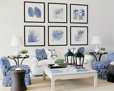 Blue and white coastal living room with white slipcover sofa