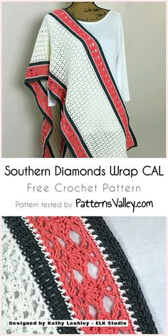 This Southern Diamonds Wrap CAL is fairly easy and simple to make and would be a good challenge for a beginner. Free Crochet Bag, Crochet Poncho, Crochet Scarves, Crochet Motif, Crochet Designs, Crochet Clothes, Crochet Patterns, Crochet Phone Cases, Crochet Crafts