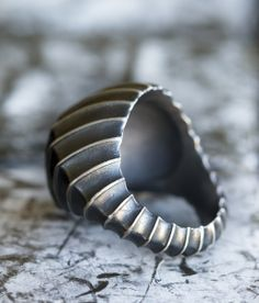 'Ribbed Rider' ring  in sterling silver by, Melanie Clarke