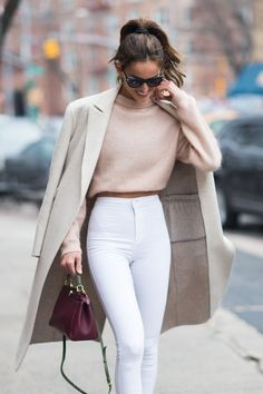 Cream ivory coat blush light pink cropped sweater white high waisted pants Cute women s fashion chic fall winter spring summer casual street style outfit inspiration ideas Outfit inspo # Fashion Mode, Look Fashion, Fashion Trends, Fashion Fall, Fashion Styles, Fashion Ideas, Feminine Fashion, New York Winter Fashion, Autumn Fashion Classy