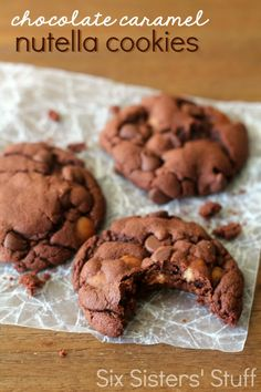 These Chocolate Caramel Nutella Cookies are filled with so many delicious flavors! | SixSistersStuff.com