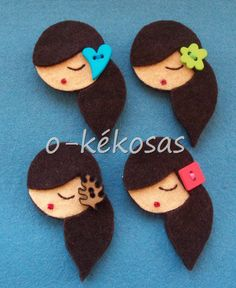 oriental faces in felt Fabric Brooch, Felt Brooch, Felt Fabric, Cute Crafts, Felt Crafts, Fabric Crafts, Diy Crafts, Felt Dolls, Paper Dolls